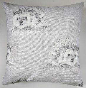 "16"" Brushed Cotton Grey Hedgehog Cushion Cover"